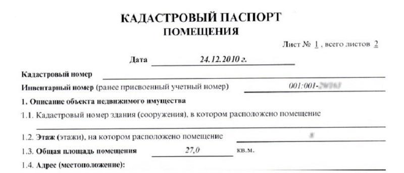 Заказ на кадастровый паспорт